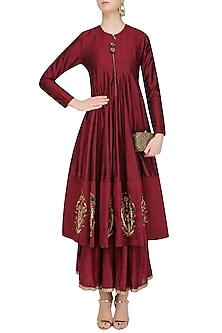 Maroon Zardozi Motifs Floor Length Anarkali with Embroidered Waistbelt by Natasha J