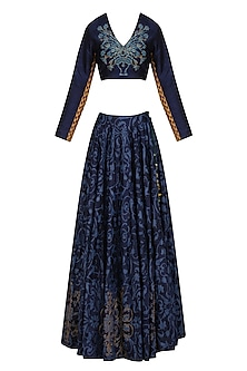 Navy Blue Floral Printed Lehenga Set by Natasha J