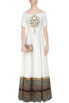 White Zardozi Embroidered off Shoulder Floor Length Anarakli with Gold Pants by Natasha J