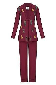 Maroon Floral Embroidered Motifs Shirt and Pants Set by Natasha J