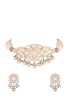 Gold Plated Pearl Choker Necklace Set by Noorah By J-JEWELLERY ON DISCOUNT