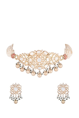 Gold Plated Pearl Choker Necklace Set by Noorah By J