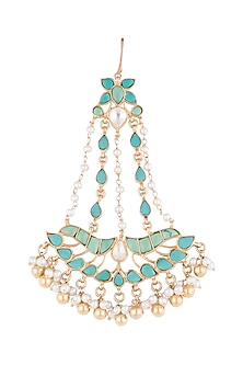 Gold Plated Pearl & Turquoise Stone Passa by Noorah By J