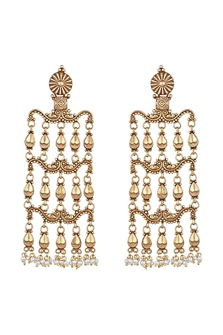 Gold Plated Temple Style Long Earrings by Noorah By J