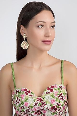 Gold Plated Meenakari Polki Earrings by Noorah By J