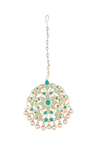 Gold Plated Turquoise Stone Maang Tikka by Noorah By J
