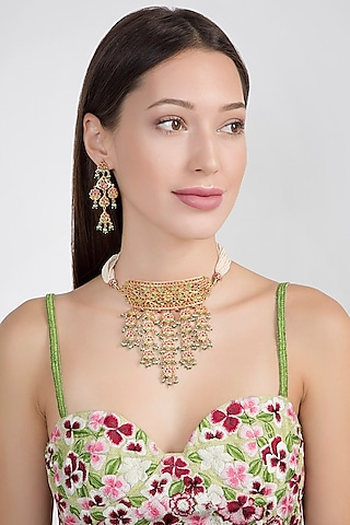 Gold Plated Semi-Precious Stones Necklace Set by Noorah By J