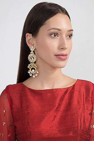 Gold Plated Elephant & Stones Earrings by Noorah By J