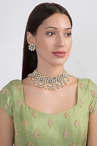 Gold Plated Meenakari Necklace Set by Noorah By J
