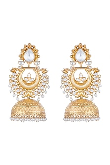 Gold Plated Jhumka Earrings by Noorah By J
