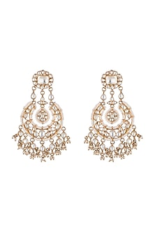 Gold Plated Kundan Chandbali Earrings by Noorah By J