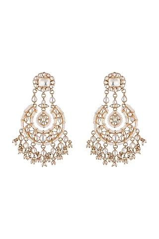 Gold Plated Kundan Chandbali Earrings by Noorah By J