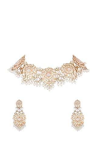 Gold Plated Mother Of Pearl Necklace Set by Noorah By J