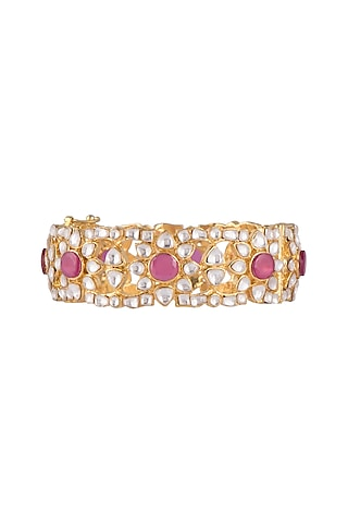 Gold Plated Ruby Openable Cuff by Nepra By Neha Goel