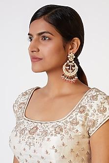 Gold Plated Pink Enameled Earrings by Nepra By Neha Goel