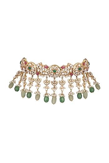 Gold Plated Kundan Choker Necklace by Nepra By Neha Goel