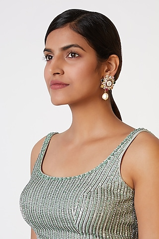 Gold Plated Kundan & Polki Earrings by Nepra By Neha Goel