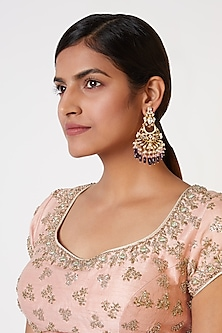 Gold Plated Synthetic Stone Earrings by Nepra By Neha Goel