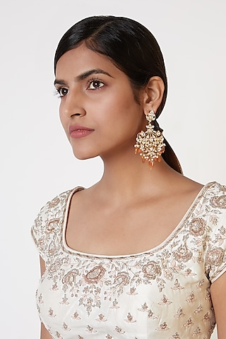 Gold Plated Yellow Sapphire Earrings by Nepra By Neha Goel