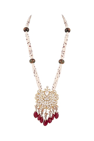 Gold Plated Kundan & Polki Necklace by Nepra By Neha Goel
