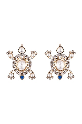 Gold Plated Blue Sapphire Earrings by Nepra By Neha Goel