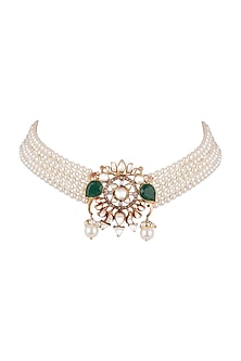 Gold Plated Kundan Choker Necklace by Nepra By Neha Goel