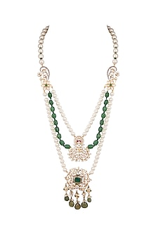Gold Plated Green & Blue Stone Necklace by Nepra By Neha Goel