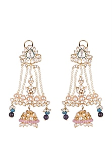 Gold Plated Polki Jhumka Earrings by Nepra By Neha Goel