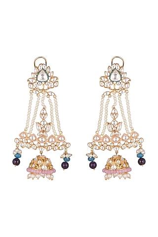 Gold Plated Polki Jhumka Earrings by Nepra By Neha Goel