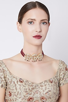 Gold Plated Red Stone Choker Necklace by Nepra By Neha Goel