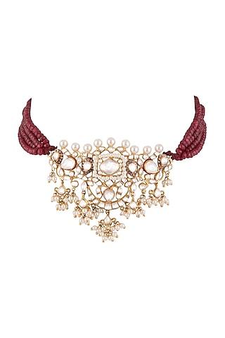 Gold Plated Kundan & Polki Choker Necklace by Nepra By Neha Goel