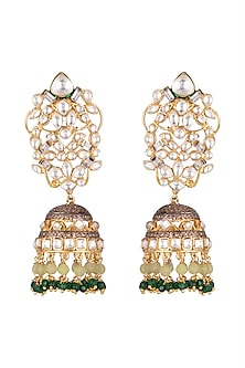 Gold Plated Emerald Earrings by Nepra By Neha Goel