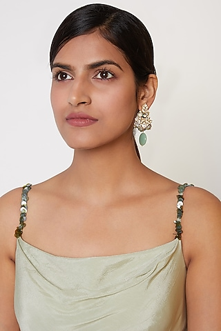 Gold Plated Green Synthetic Stone Earrings by Nepra By Neha Goel