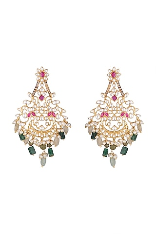 Gold Plated Red & Green Stone Earrings by Nepra By Neha Goel