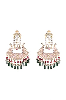 Gold Plated Pink Enameled Earrings by Nepra By Neha Goel