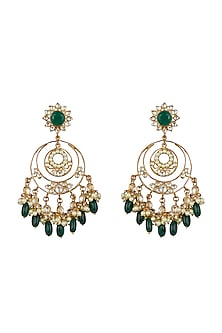 Gold Finish Kundan Chandbali Earrings by Nepra By Neha Goel