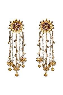 Gold Finish Floral Earrings by Nepra By Neha Goel