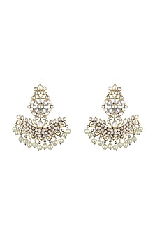 Gold Finish Chandbali Earrings by Nepra By Neha Goel