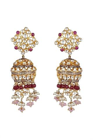 Gold Finish Kundan Jhumka Earrings by Nepra By Neha Goel