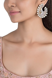 Gold Plated Crescent Shaped Mesh Earrings by Nepra By Neha Goel