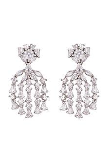 White Finish Zircon Earrings by Nepra By Neha Goel