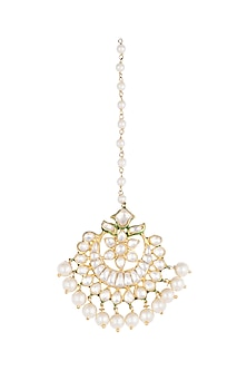 Gold Plated Green Enamelled Maang Tikka by Nepra By Neha Goel