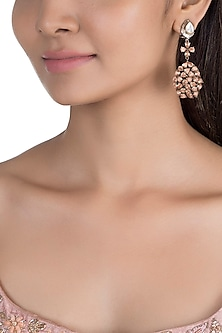 Black Rhodium Finish Pear Shaped Drop Earrings by Nepra By Neha Goel