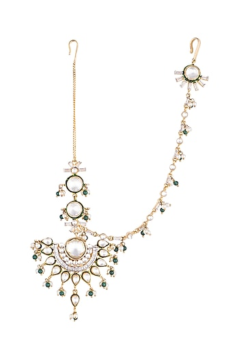 Gold Plated Green Enamelled Kundan Maang Tikka by Nepra By Neha Goel