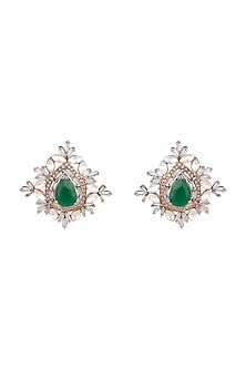 Antique Gold Finish Emerald Stone Earrings by Nepra By Neha Goel