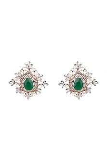 Antique Gold Finish Emerald Stone Earrings by Nepra By Neha Goel