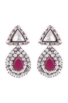Black Rhodium Finish Ruby Drop Earrings by Nepra By Neha Goel