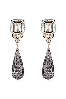 Antique Black Finish Zircon Earrings by Nepra By Neha Goel