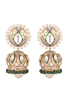 Gold Plated Polki Jhumka Earrings by Nepra By Neha Goel-JEWELLERY ON DISCOUNT