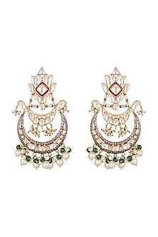 Gold Plated Pink Enamel Earrings by Nepra By Neha Goel